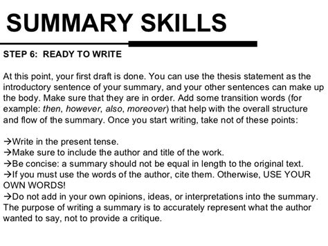 How To Write A Resume Summary by Summary Writing Skills