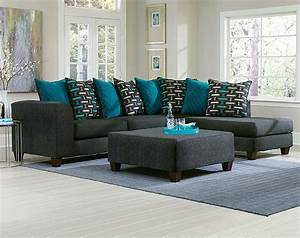 Black two toned couch blue pillows watson big 2 pc for Sectional sofa or two sofas