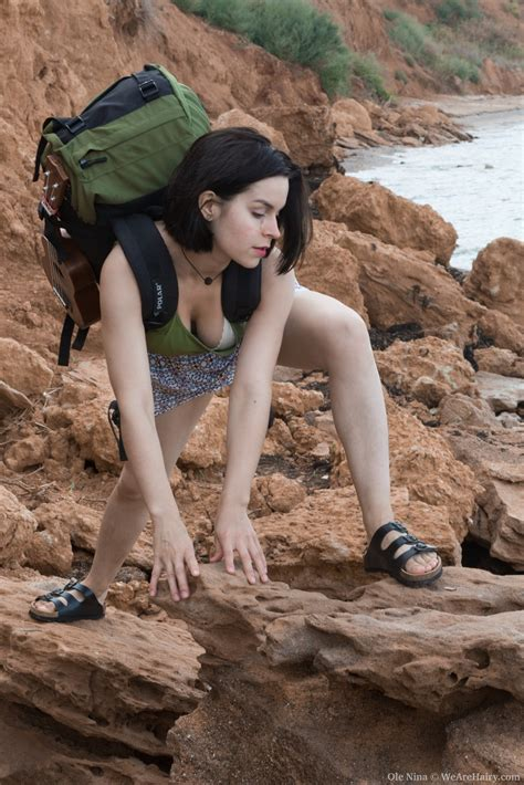 Ole Nina Shows Off Her Body On The Outdoor Rocks