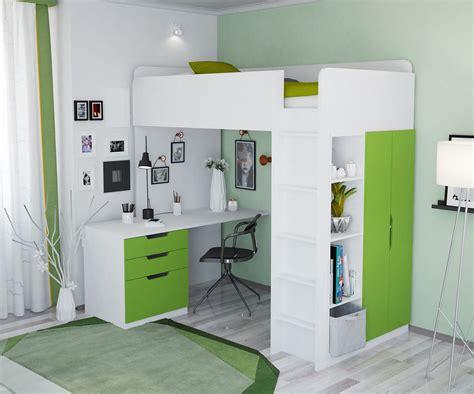 lit superposé avec bureau polini kinder hochbett mit kleiderschrank und