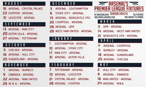 All the upcoming premier league football fixtures and results in the 2019/20 season. Arsenal's English Premier League Fixtures 2014/2015