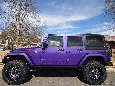 purple jeep no doors lifted nitto tires fuel wheels xrc winch 3 piece hard top