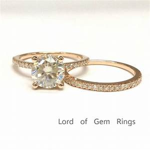 2 Ring Set! 7mm Round Moissanite Diamond Wedding Bridal ...
