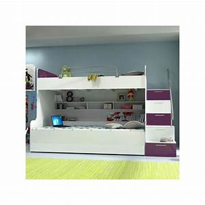 Lit Mezzanine Enfant : lit mezzanine enfant raj 2 violet et blanc ~ Teatrodelosmanantiales.com Idées de Décoration