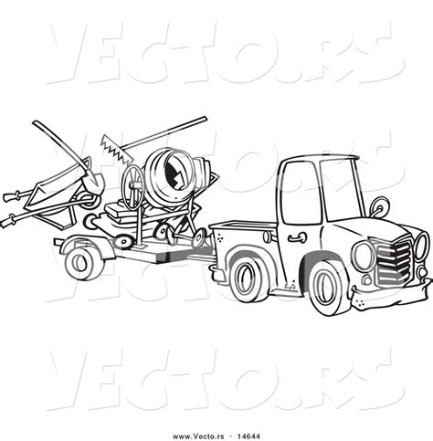 Vector Of A Cartoon Truck Pulling A Trailer With Landscape