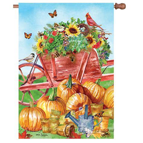 pumpkin wheelbarrow decorative house flag