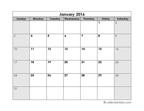 Blank Monthly Calendar Template 2016 Blank Monthly Calendar Free Printable Templates