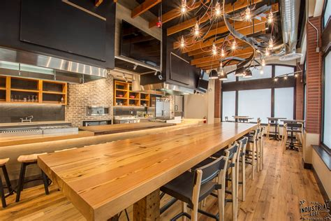 community tasting table reclaimed heart pine steel real industrial edge furniture custom