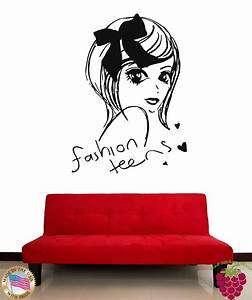 wall stickers vinyl decal fashion teens cute girl decor With teenage girl wall decals ideas