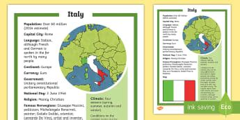 Italy - KS2 Geography Primary Resources