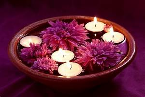 Aroma Bowl with Candles and Lilac Flowers Stock Photo