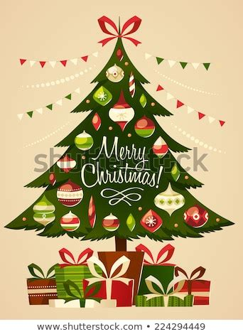 christmas cards shutterstock tree gifts card stock vector 224294449