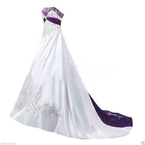 No 1 Embroidery Dress plus size satin white and purple embroidery wedding