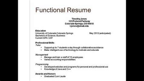 essential categories in a resume listed below are three types of resumes