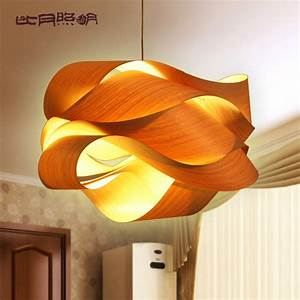 Wood veneer ceiling lights : Chinese style wood project light veneer lamps personalized