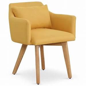 Chaise Scandinave Jaune : chaise fauteuil scandinave gybson tissu jaune ~ Teatrodelosmanantiales.com Idées de Décoration