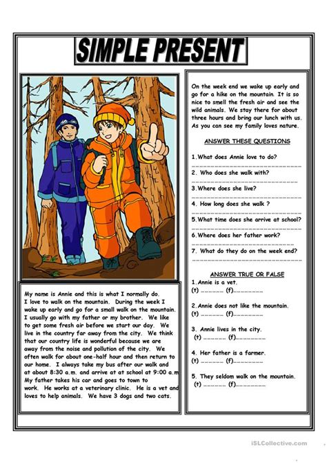 simple present reading comprehension text worksheet free