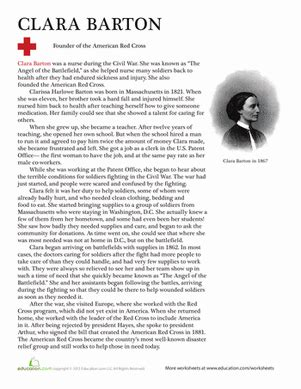 clara barton worksheet education 758 | clara barton history comprehension third
