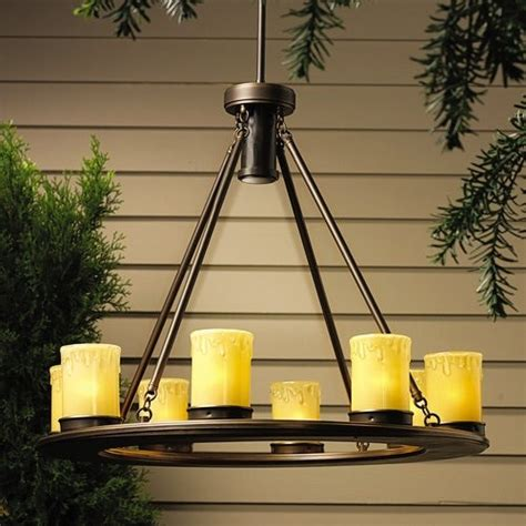 Bronze Outdoor Candle Round Chandelier Traditional