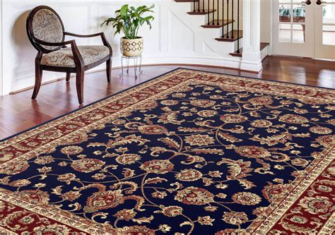 rugs and home navy blue traditional bordered area rug multi