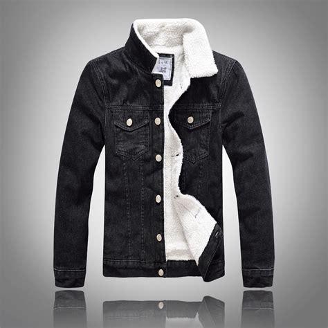 Denim Jacket Fur Collar Men Winter Black Male Bomber Jacket Jeans Jacket Men Fashion Plus Size ...