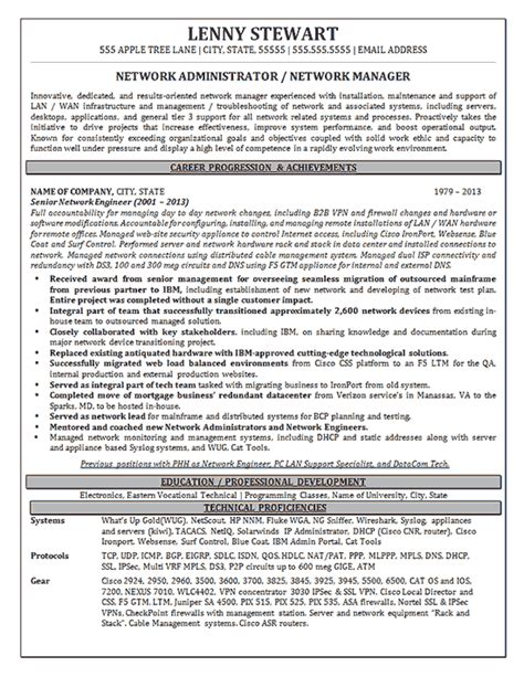 network manager resume writing