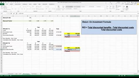 calculate roi  payback  excel  youtube