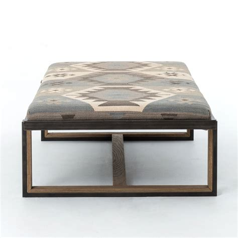 kilim ottoman coffee table eclectic iron and kilim upholstered coffee table ottoman