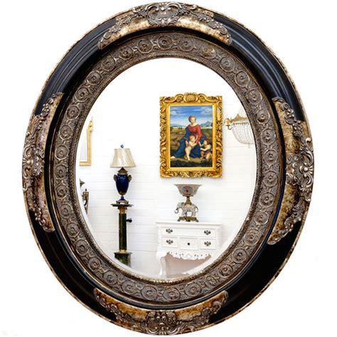 miroir baroque ovale cadre en bois noir et argent 90x78 cm miroirs baroque classic stores