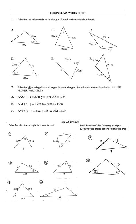 of cosines worksheets and answers 8 best images of of cosines worksheet answers of