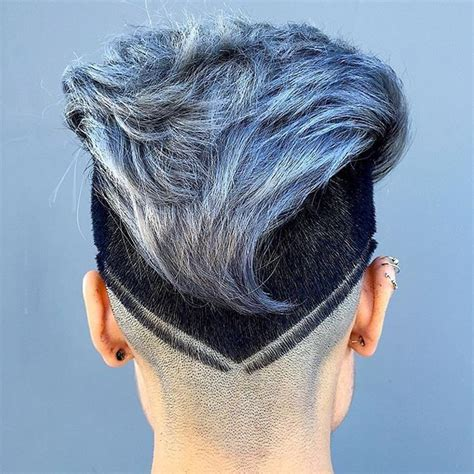 cut mohawk dark sides ice blue gray color hairstyle