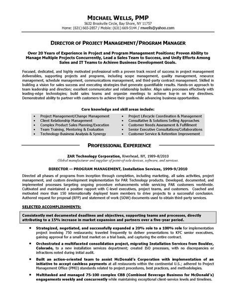 program manager resume objective resume sles elite resume writing