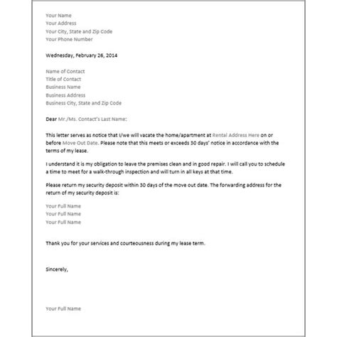 30 day notice template free 30 day notice template for microsoft word resource for renters