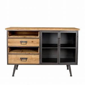 Buffet Metal Et Bois : buffet vintage en bois et m tal damian drawer ~ Melissatoandfro.com Idées de Décoration