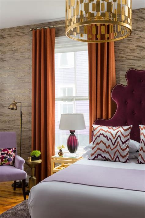 Bedroom Burnt Orange Wallpaper by Eclectic Bedroom With Burgundy Headboard Burnt Orange