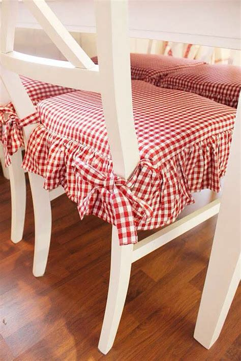 pretty red  white gingham check kitchen chair cushions