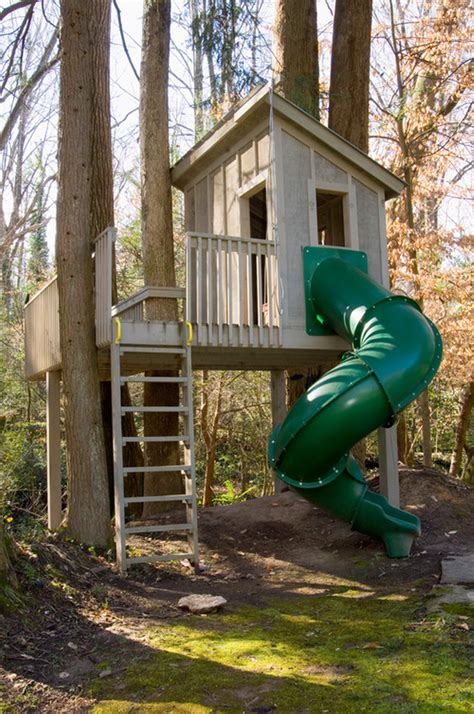 Attractive Outdoor Tree House Designed For Kids As Play