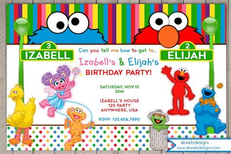 customized wall sesame birthday invitation sesame joint or