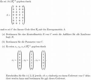 Lineare Funktionen N Berechnen : kontrollmatrix aus erzeugermatrix berechnen lineare ~ Themetempest.com Abrechnung