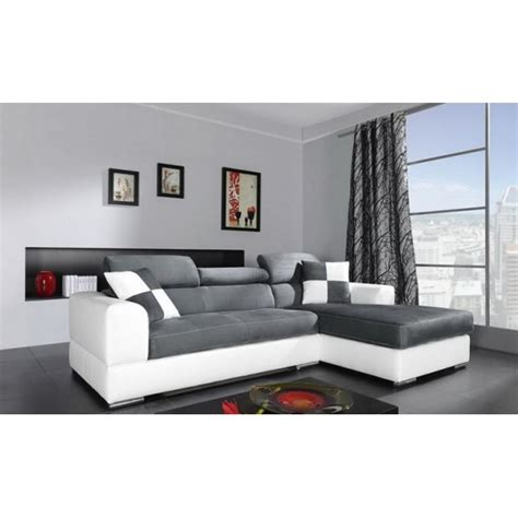 canapé angles convertible canapé d 39 angle 4 places néto madrid gris et blanc pas cher