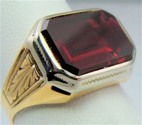 mens ring antique vintage collectible deco estate ruby