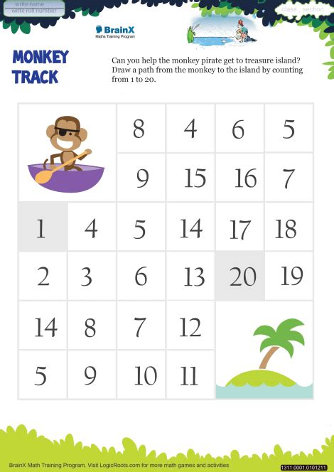 monkey track math worksheet  kindergarten
