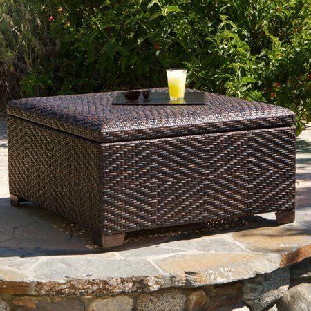 outdoor ottoman with storage davis wicker brown indoor outdoor storage ottoman