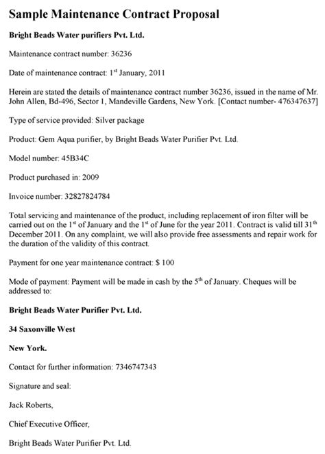 maintenance contract proposal template