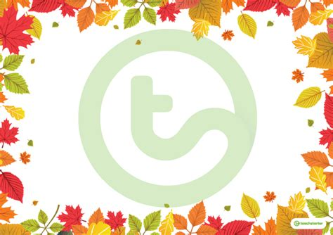 autumn leaves landscape page borders teaching resource