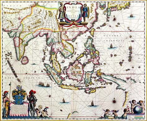 antique map showing southeast asia   east indies