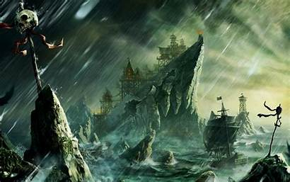 Pirate Boat Danger Bay Skull Background Wallpapers