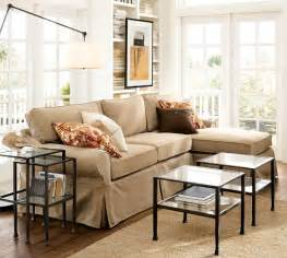 pb basic slipcovered sofa with chaise sectional pottery barn With pottery barn style sectional sofa