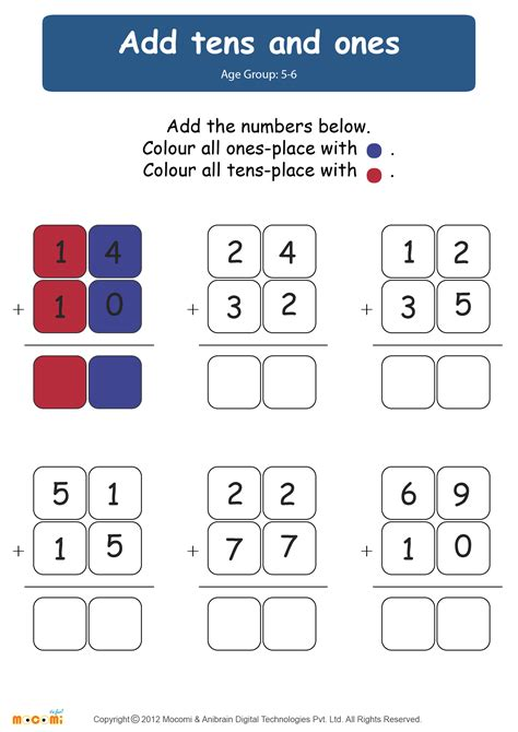 adding tens and ones worksheets for kindergarten add tens and ones worksheet for mocomi