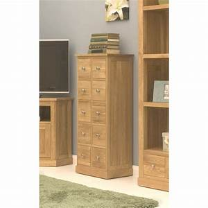 Mobel Oak Multi Drawer DVD CD Storage Chest